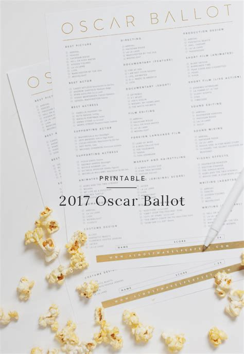 oscar ballot printable 2017 oscar ballot almost makes