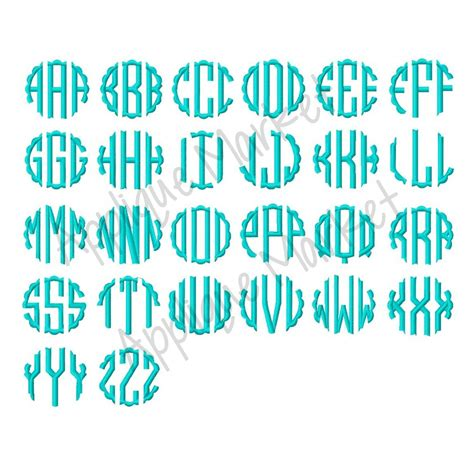 embroidery font alphabe scallop circle satin monogram circle monogram monogram fonts monogram