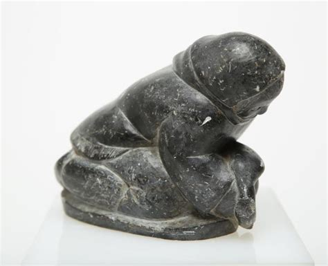 Inuit Canadian Eskimo Soapstone Sculpture, Signed