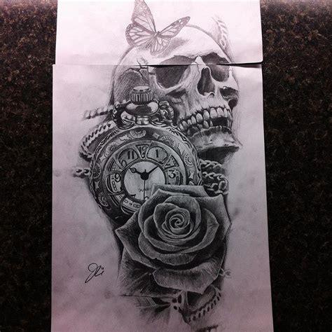 setsailtattooparlor art tattoo design drawing sketch skull clock rose realism