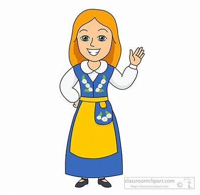 Clipart Sweden Traditional European Woman Costume Folk