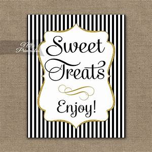 Printable Sweet Treats Dessert Sign - Black Gold Stripe