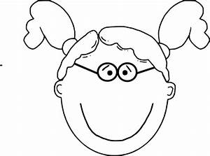 Girl Pigtails & Glasses Outline Clip Art at Clker.com ...