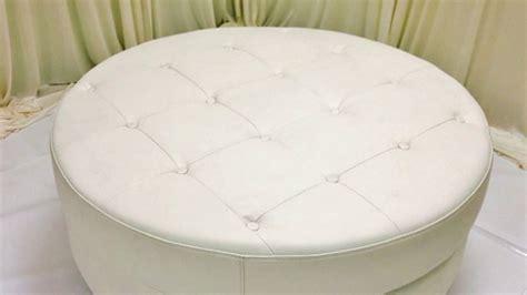 Round White Leather Ottoman Coffee Table Furniture