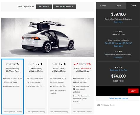 tesla model x 60 kwh now available starting price is 74 000