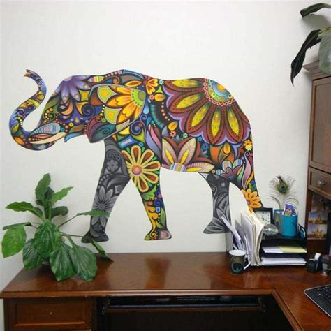 elegant elephant wall sticker colorful elephant wall decal
