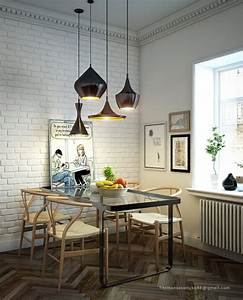 Dining room design white brick wall black pendant lamps