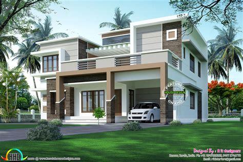 modern flat roof sober colored home kerala house design
