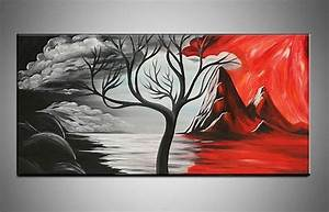 Hand painted large canvas wall art black white and red