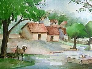 Indian Village Painting by Mueen Akhtar
