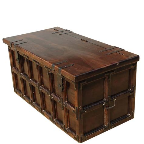 wooden chest trunk coffee table kokanee beaufort primitive solid wood iron coffee table