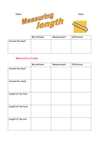 measuring length estimating length year 2 worksheets