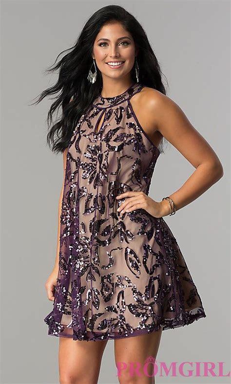 sequin print short plum purple party dress promgirl