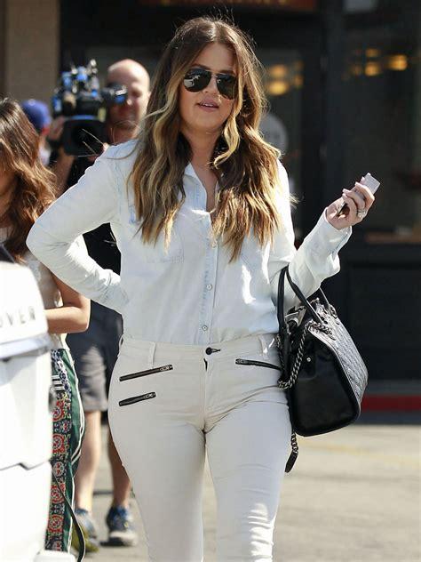 khloe kardashian tight white jeans candids  gotceleb