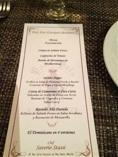 restaurant menu in pata de palo