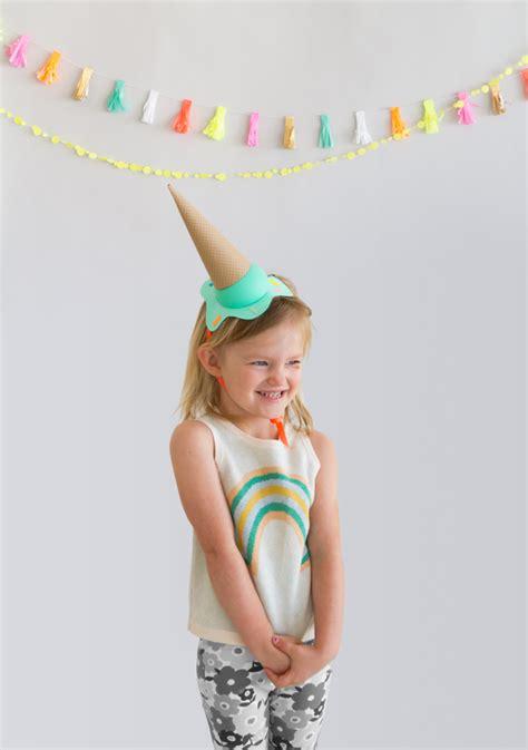 diy melting ice cream party hats