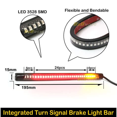 glow smd 3528 led light bar integrated turn signal