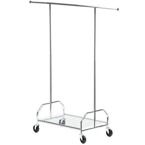 rolling clothes rack honey can do bottom shelf steel rolling garment rack in