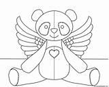 Panda Coloring Flying Transparent Angel Donteatthepaste Version sketch template
