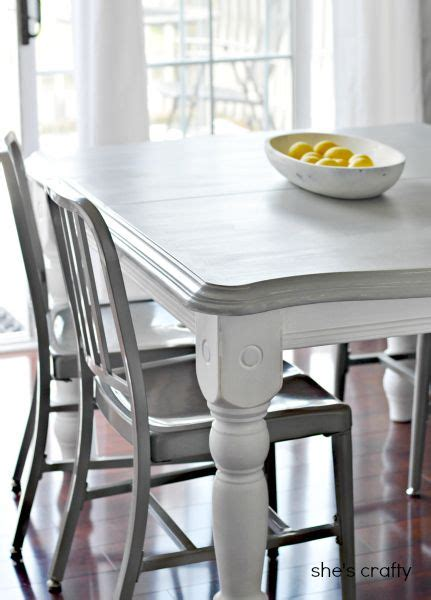 shes crafty gray  white painted kitchen table