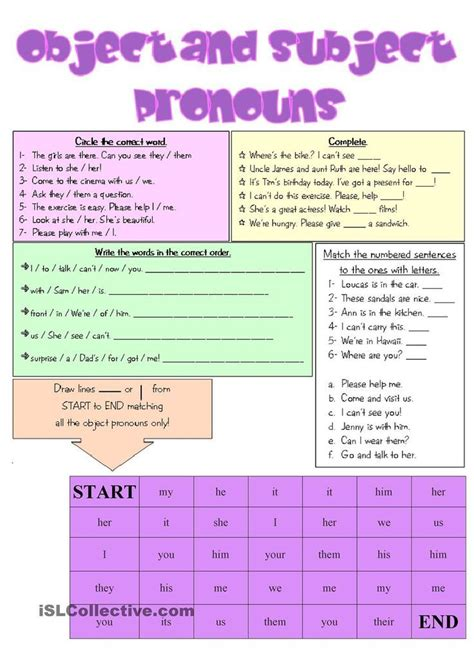object and subject pronouns 3rd grade classroom pinterest