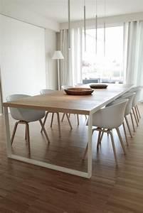 Grande table salle a manger table a manger bois clair for Salle À manger contemporaineavec grande table de salle a manger avec rallonge