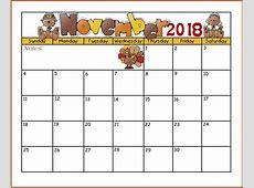 November 2018 free Landscape & Portrait Calendar template