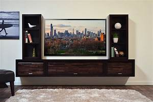 Furniture: Modern Wall Mounted Floating TV Stand Floating