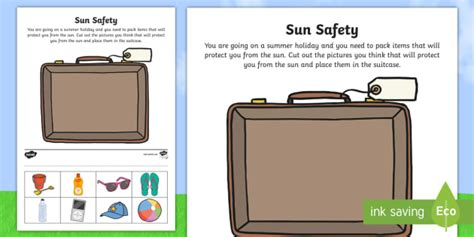 Sun Safety Cut and Paste Activity (teacher made)