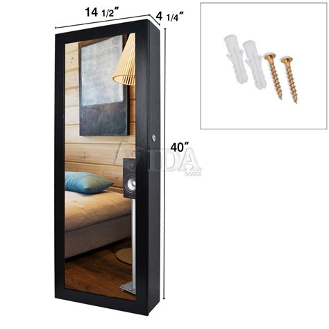 wall mounted jewelry cabinet with mirror 40 quot black mirrored wall mount jewelry cabinet armoire