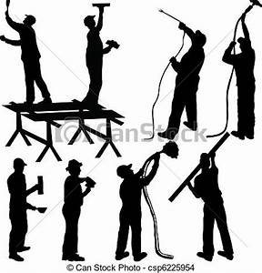 EPS Vector of Painters and masons silhouettes csp6225954