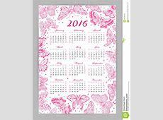 Calendar 2016 Year With Decorative Butterflies Stock