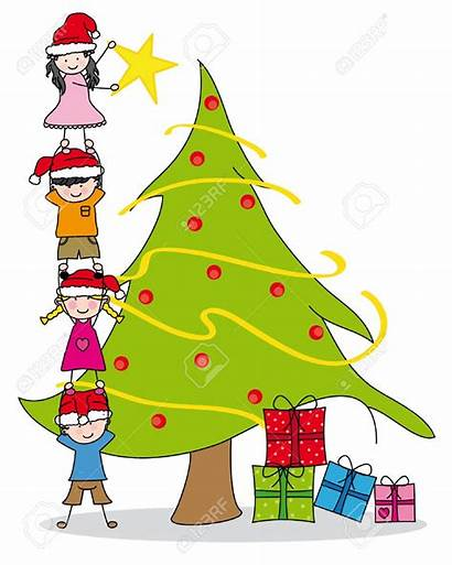 Tree Christmas Clipart Decorating Clip Decorated Children