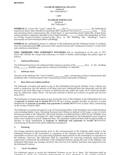 Ontario Sublease Agreement (Commercial) | Legal Forms and