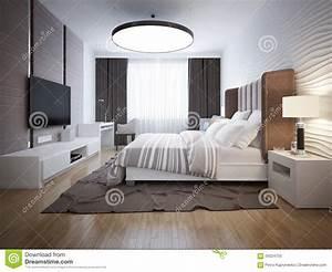 Progettazione Luminosa Della Camera Da Letto Contemporanea Immagine Stock Immagine di moderno