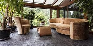 dekoration dschungel gruen palmen pflanzen tapete teppich With balkon teppich mit tropical tapete