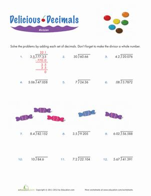 dividing decimals worksheet education