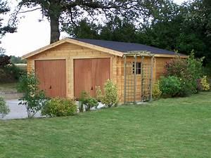 Garage Bois 40m2 : garage pour deux voiture en madriers massif bois ~ Melissatoandfro.com Idées de Décoration