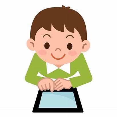 Children Vector Tablet Playing Pc Boy Illustration