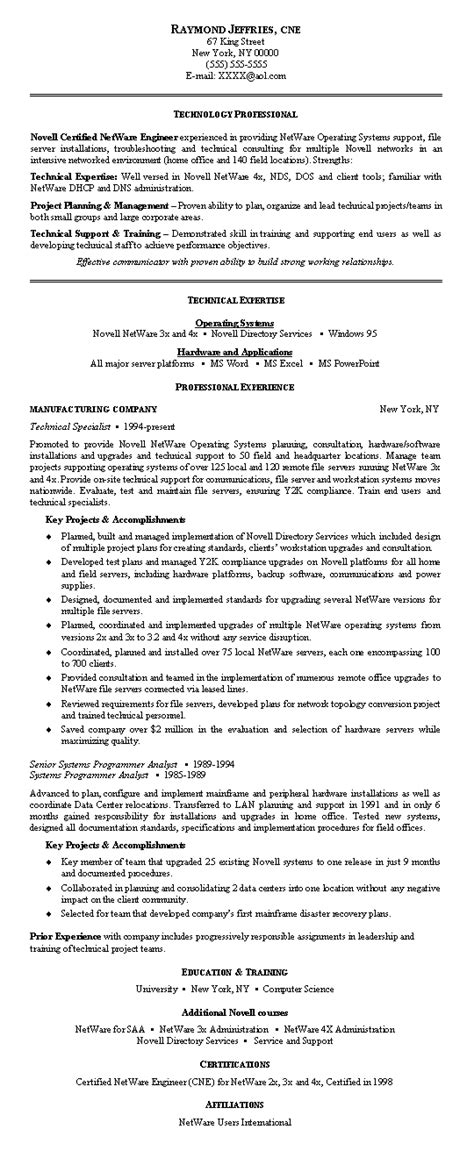 network engineer resume exle