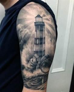 Lighthouse Nautical Tattoo On Half Sleeve
