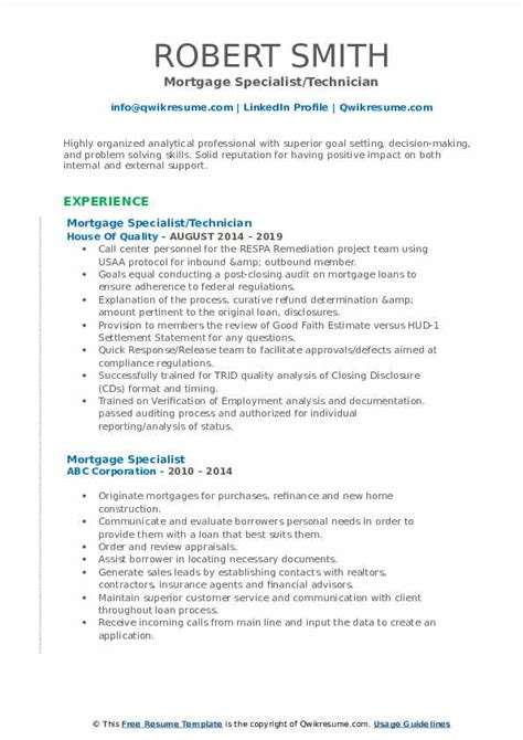 mortgage specialist resume samples qwikresume