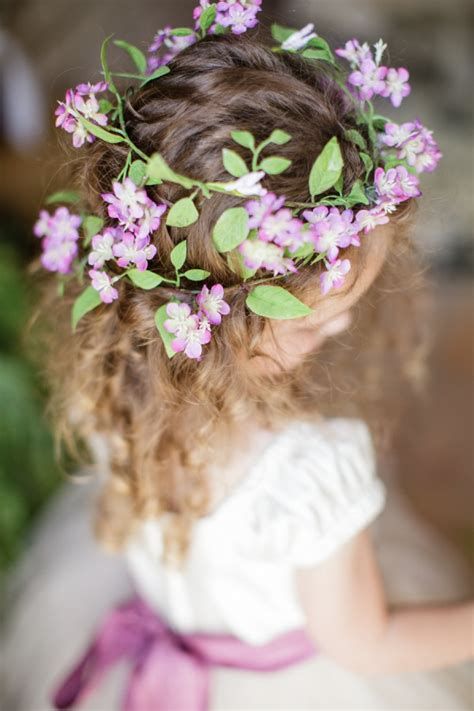 super cute  girl hairstyles  wedding deer pearl flowers part