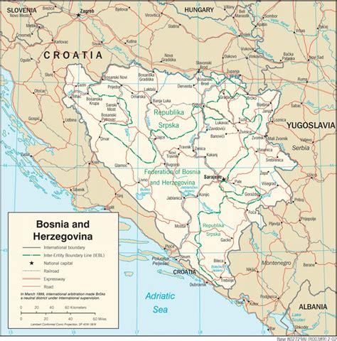 Ģeogrāfiskā karte - Bosnija un Hercegovina - 1,409 x 1,428 ...