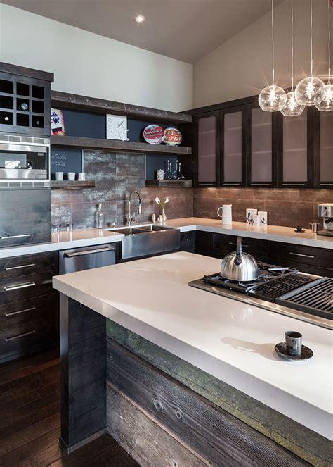 rustic kitchen island modern home  eugene oregon