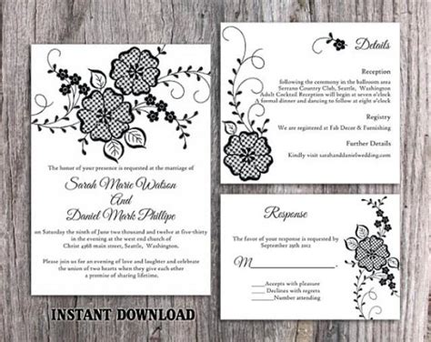 diy lace wedding invitation template set editable word