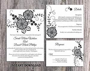 diy lace wedding invitation template set editable word With diy wedding invitations templates free download