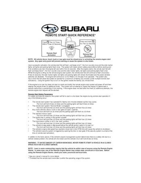 Subaru Impreza Turn Start Remote Quick