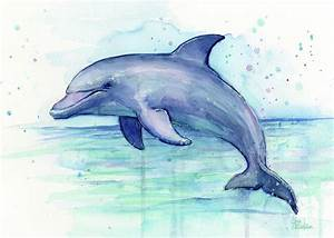 Dolphin Watercolor Painting by Olga Shvartsur