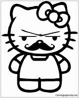 Mustache Kitty Hello Coloring Pages sketch template